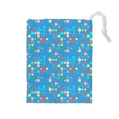 Colorful Squares Pattern Drawstring Pouch (large) by LalyLauraFLM