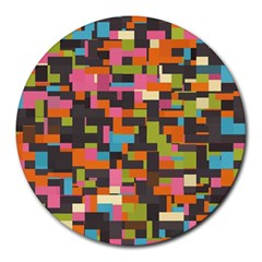 Colorful Pixels Round Mousepad