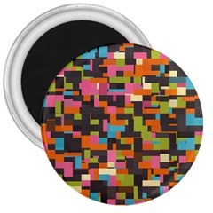 Colorful Pixels 3  Magnet by LalyLauraFLM