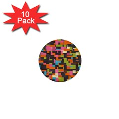 Colorful Pixels 1  Mini Button (10 Pack)  by LalyLauraFLM