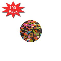 Colorful Pixels 1  Mini Magnet (100 Pack)  by LalyLauraFLM