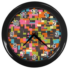 Colorful Pixels Wall Clock (black)
