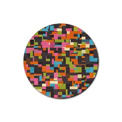 Colorful Pixels Rubber Round Coaster (4 Pack) by LalyLauraFLM