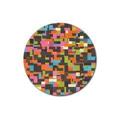 Colorful Pixels Magnet 3  (round)