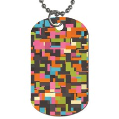 Colorful Pixels Dog Tag (one Side)
