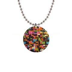 Colorful Pixels 1  Button Necklace by LalyLauraFLM