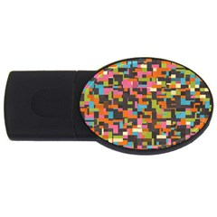 Colorful Pixels Usb Flash Drive Oval (4 Gb) by LalyLauraFLM