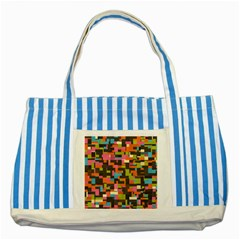 Colorful Pixels Striped Blue Tote Bag by LalyLauraFLM