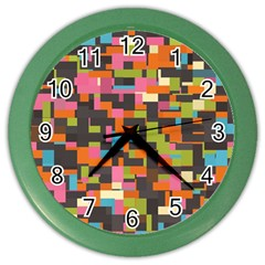 Colorful Pixels Color Wall Clock by LalyLauraFLM