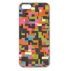 Colorful Pixels Apple Seamless Iphone 5 Case (clear) by LalyLauraFLM