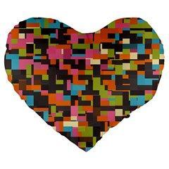 Colorful Pixels 19  Premium Heart Shape Cushion