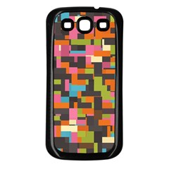 Colorful Pixels Samsung Galaxy S3 Back Case (black) by LalyLauraFLM