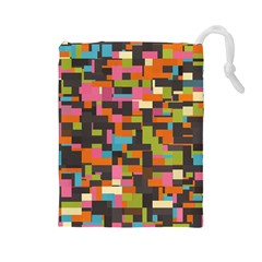 Colorful Pixels Drawstring Pouch (large)