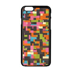 Colorful Pixels Apple Iphone 6 Black Enamel Case by LalyLauraFLM