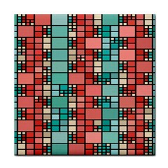 Red And Green Squares Tile Coaster by LalyLauraFLM