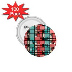 Red And Green Squares 1 75  Button (100 Pack)