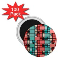 Red And Green Squares 1 75  Magnet (100 Pack)  by LalyLauraFLM