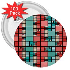 Red And Green Squares 3  Button (100 Pack)