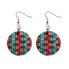 Red And Green Squares 1  Button Earrings