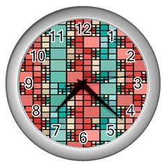 Red And Green Squares Wall Clock (silver) by LalyLauraFLM