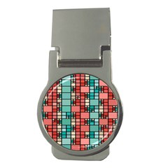 Red And Green Squares Money Clip (round) by LalyLauraFLM