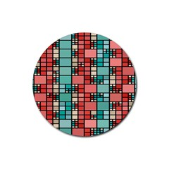 Red And Green Squares Rubber Coaster (round) by LalyLauraFLM