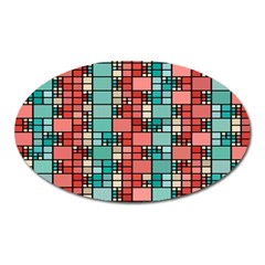 Red And Green Squares Magnet (oval) by LalyLauraFLM