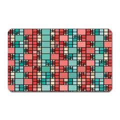 Red And Green Squares Magnet (rectangular) by LalyLauraFLM