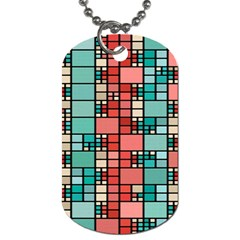 Red And Green Squares Dog Tag (one Side) by LalyLauraFLM