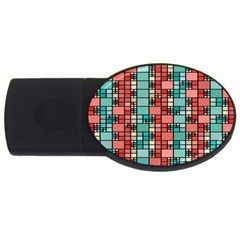 Red And Green Squares Usb Flash Drive Oval (2 Gb)