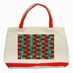 Red And Green Squares Classic Tote Bag (red)
