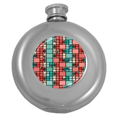 Red And Green Squares Hip Flask (5 Oz)