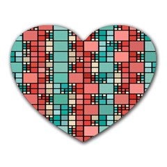 Red And Green Squares Heart Mousepad by LalyLauraFLM