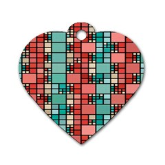 Red And Green Squares Dog Tag Heart (two Sides) by LalyLauraFLM