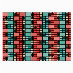 Red And Green Squares Glasses Cloth (large) by LalyLauraFLM