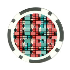 Red And Green Squares Poker Chip Card Guard (10 Pack) by LalyLauraFLM
