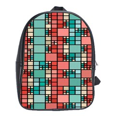 Red And Green Squares School Bag (large) by LalyLauraFLM