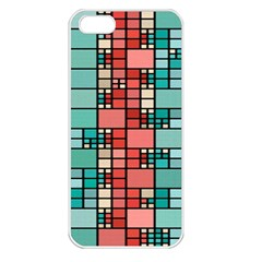 Red And Green Squares Apple Iphone 5 Seamless Case (white) by LalyLauraFLM