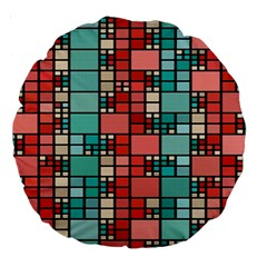 Red And Green Squares 18  Premium Round Cushion  by LalyLauraFLM