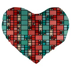 Red And Green Squares 19  Premium Heart Shape Cushion