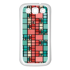 Red And Green Squares Samsung Galaxy S3 Back Case (white) by LalyLauraFLM