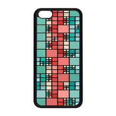 Red And Green Squares Apple Iphone 5c Seamless Case (black) by LalyLauraFLM