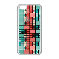 Red And Green Squares Apple Iphone 5c Seamless Case (white) by LalyLauraFLM