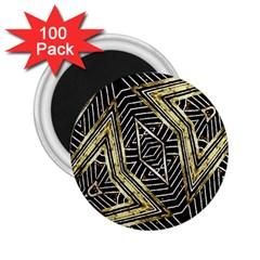 Geometric Tribal Golden Pattern Print 2 25  Button Magnet (100 Pack) by dflcprints