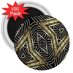 Geometric Tribal Golden Pattern Print 3  Button Magnet (100 Pack) by dflcprints