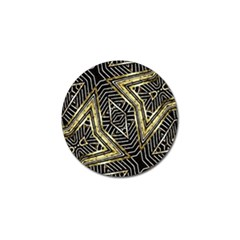 Geometric Tribal Golden Pattern Print Golf Ball Marker by dflcprints