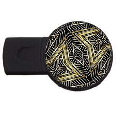 Geometric Tribal Golden Pattern Print 1GB USB Flash Drive (Round) by dflcprints