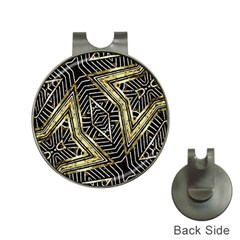 Geometric Tribal Golden Pattern Print Hat Clip With Golf Ball Marker by dflcprints