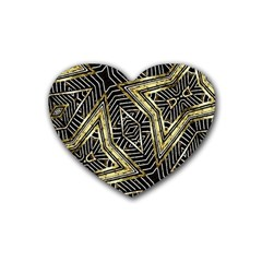 Geometric Tribal Golden Pattern Print Drink Coasters (heart) by dflcprints