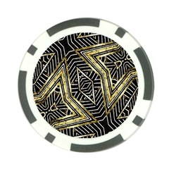 Geometric Tribal Golden Pattern Print Poker Chip (10 Pack) by dflcprints
